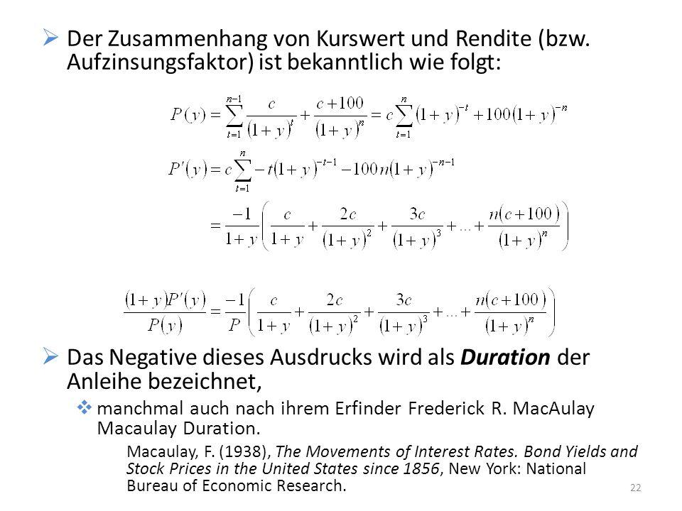 Der Zusammenhang von Kurswert und Rendite (bzw. Aufzinsungsfaktor) ist bekanntlich wie folgt: Das Negative dieses Ausdrucks wird als Duration der Anle