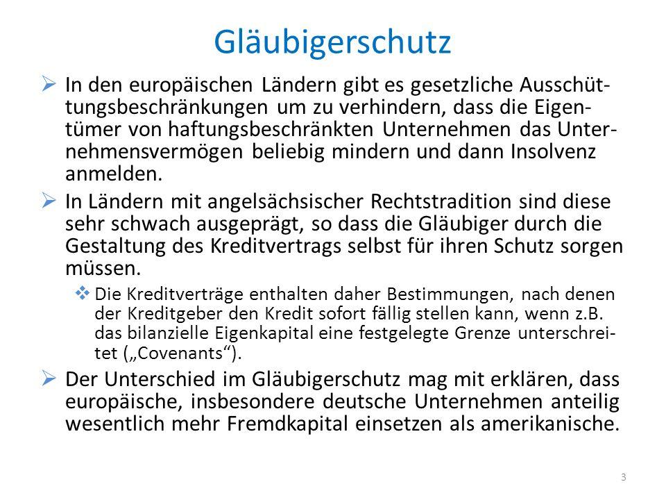Gläubigerschutz In den europäischen Ländern gibt es gesetzliche Ausschüt- tungsbeschränkungen um zu verhindern, dass die Eigen- tümer von haftungsbesc