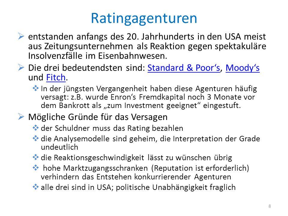 Ratingagenturen entstanden anfangs des 20.