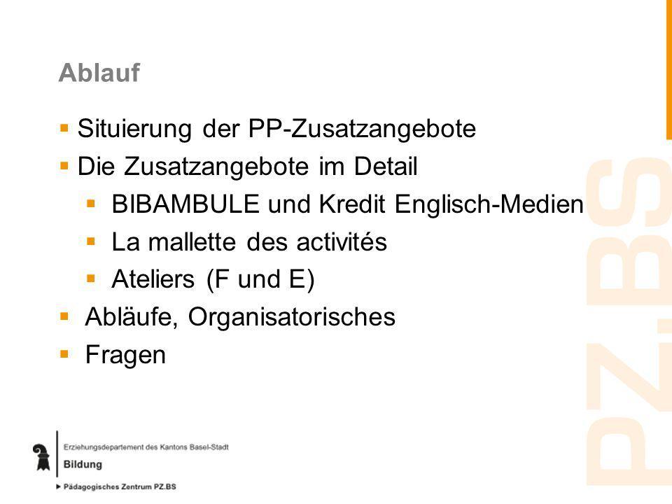 Ablauf Situierung der PP-Zusatzangebote Die Zusatzangebote im Detail BIBAMBULE und Kredit Englisch-Medien La mallette des activités Ateliers (F und E)