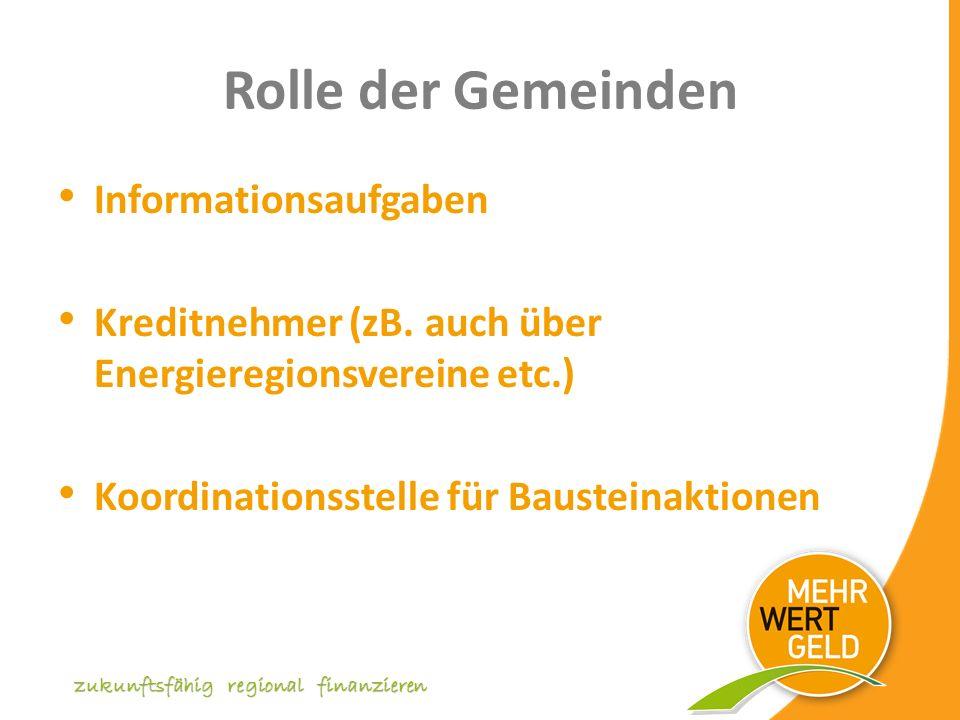 Rolle der Gemeinden Informationsaufgaben Kreditnehmer (zB.