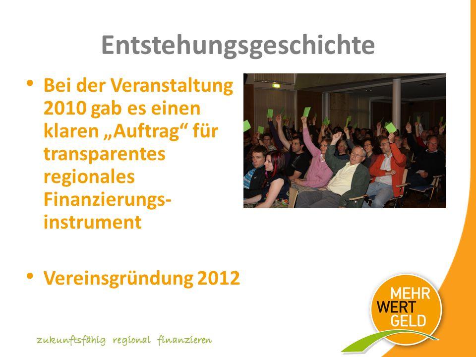 Entstehungsgeschichte Bei der Veranstaltung 2010 gab es einen klaren Auftrag für transparentes regionales Finanzierungs- instrument Vereinsgründung 2012 zukunftsfähig regional finanzieren