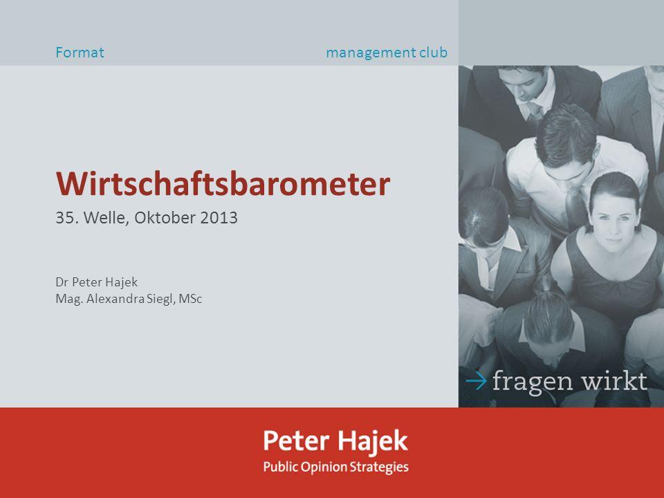 Wirtschaftsbarometer Format management club 35. Welle, Oktober 2013 Dr Peter Hajek Mag.