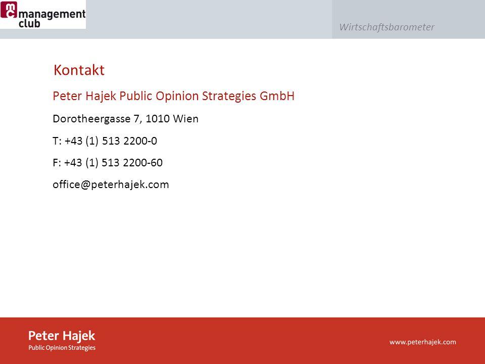 Wirtschaftsbarometer Kontakt Peter Hajek Public Opinion Strategies GmbH Dorotheergasse 7, 1010 Wien T: +43 (1) 513 2200-0 F: +43 (1) 513 2200-60 office@peterhajek.com