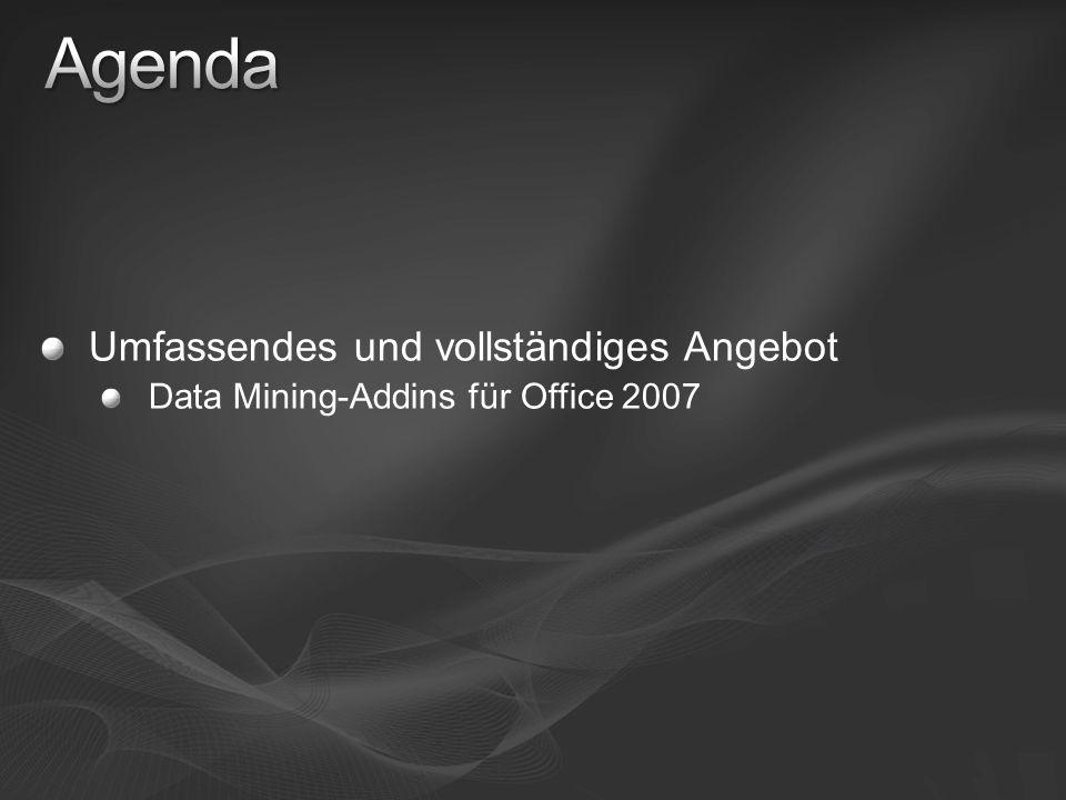 Umfassendes und vollständiges Angebot Data Mining-Addins für Office 2007