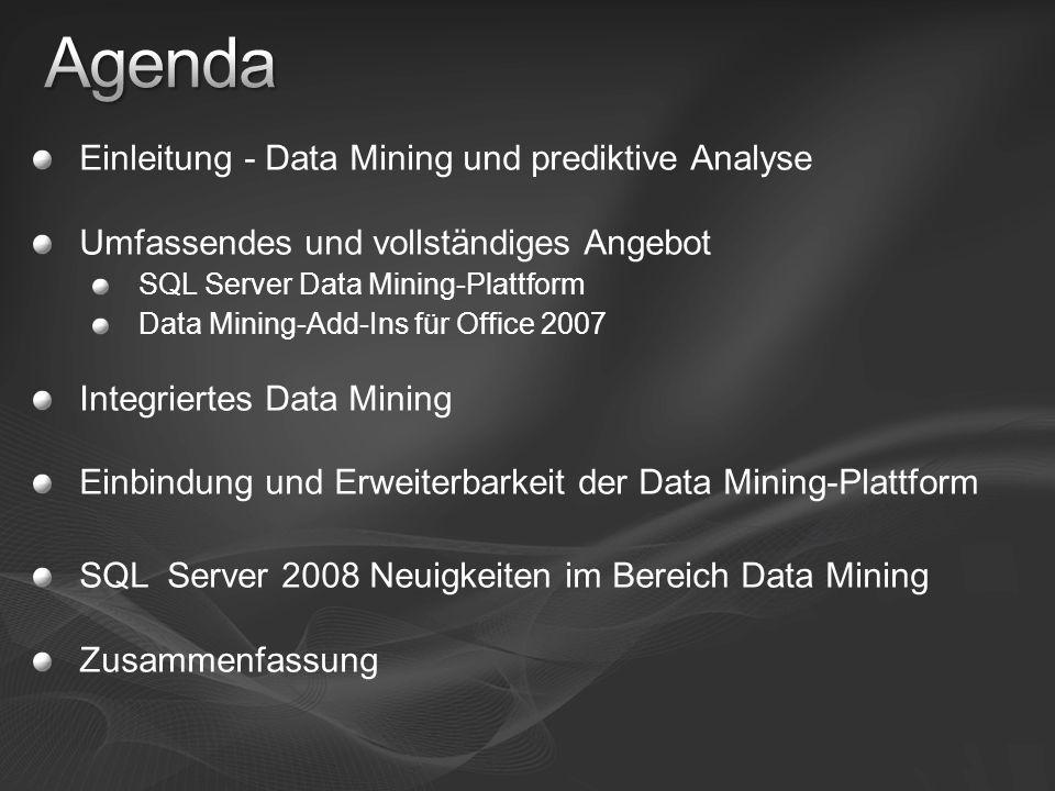 Einleitung - Data Mining und prediktive Analyse Umfassendes und vollständiges Angebot SQL Server Data Mining-Plattform Data Mining-Add-Ins für Office
