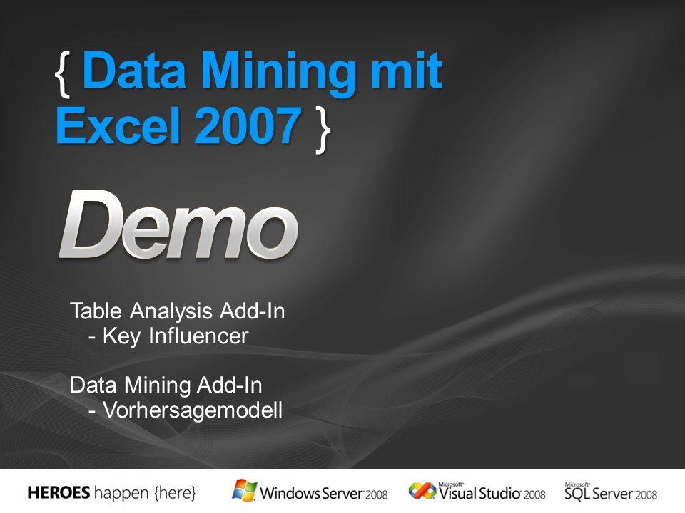 { Data Mining mit Excel 2007 } Table Analysis Add-In - Key Influencer Data Mining Add-In - Vorhersagemodell