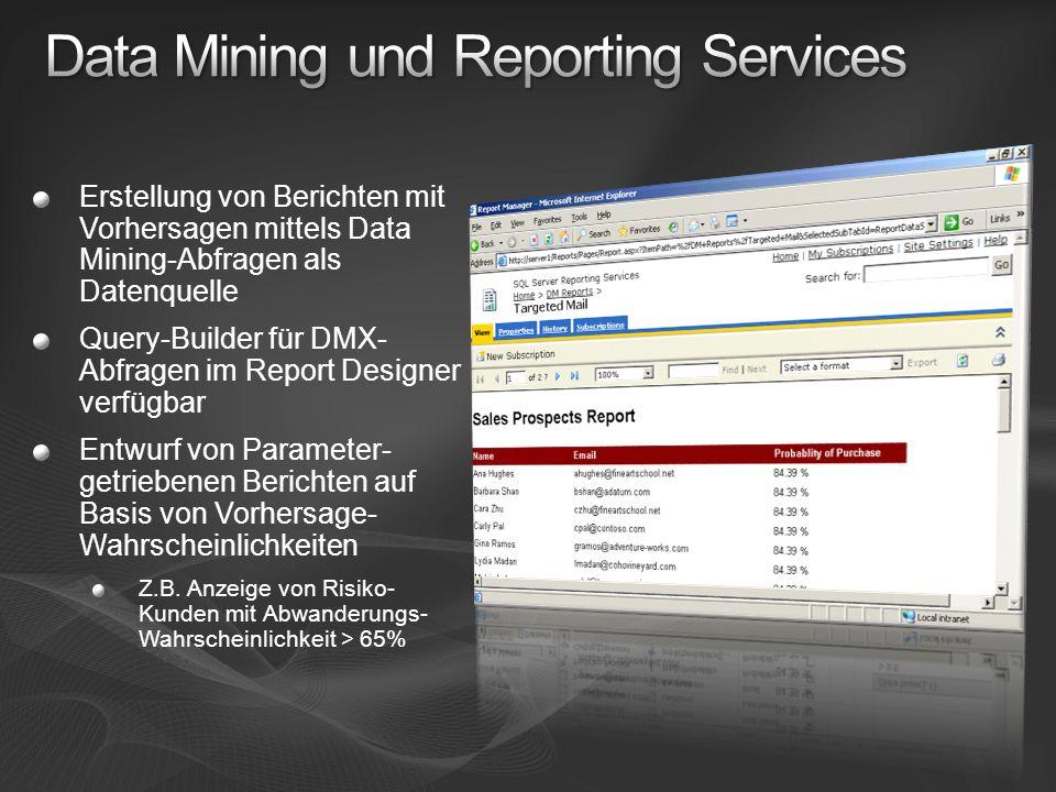 Erstellung von Berichten mit Vorhersagen mittels Data Mining-Abfragen als Datenquelle Query-Builder für DMX- Abfragen im Report Designer verfügbar Ent