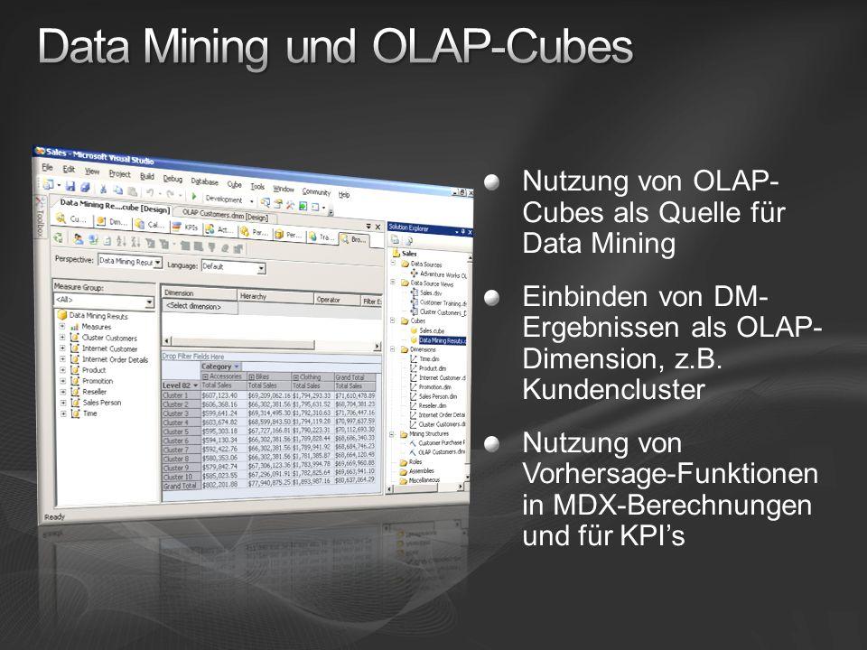 Nutzung von OLAP- Cubes als Quelle für Data Mining Einbinden von DM- Ergebnissen als OLAP- Dimension, z.B. Kundencluster Nutzung von Vorhersage-Funkti