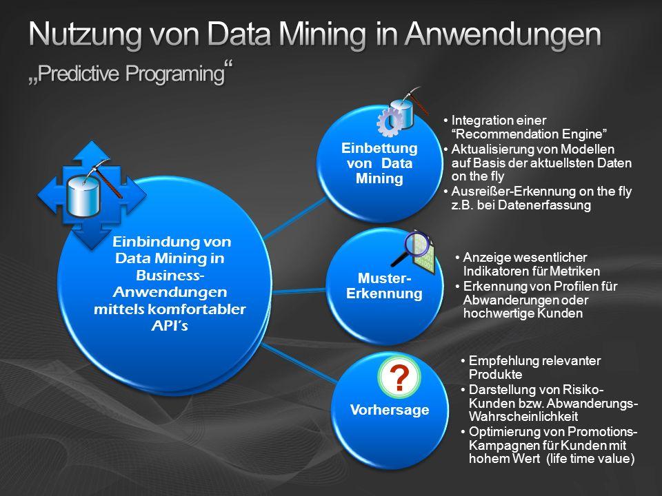Einbettung von Data Mining Integration einer Recommendation Engine Aktualisierung von Modellen auf Basis der aktuellsten Daten on the fly Ausreißer-Er