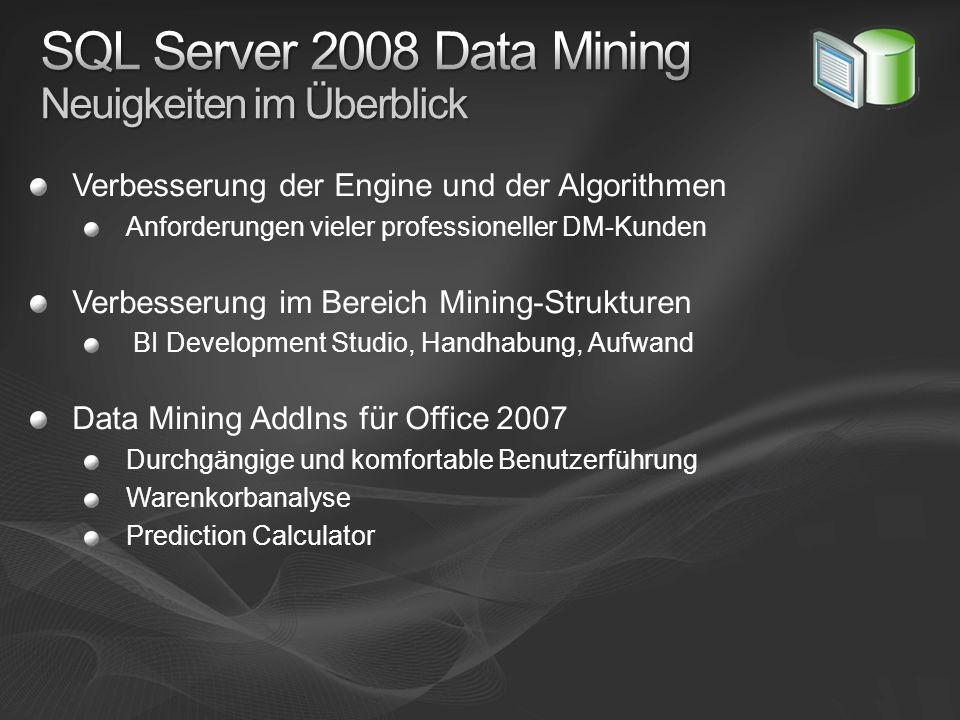Verbesserung der Engine und der Algorithmen Anforderungen vieler professioneller DM-Kunden Verbesserung im Bereich Mining-Strukturen BI Development St