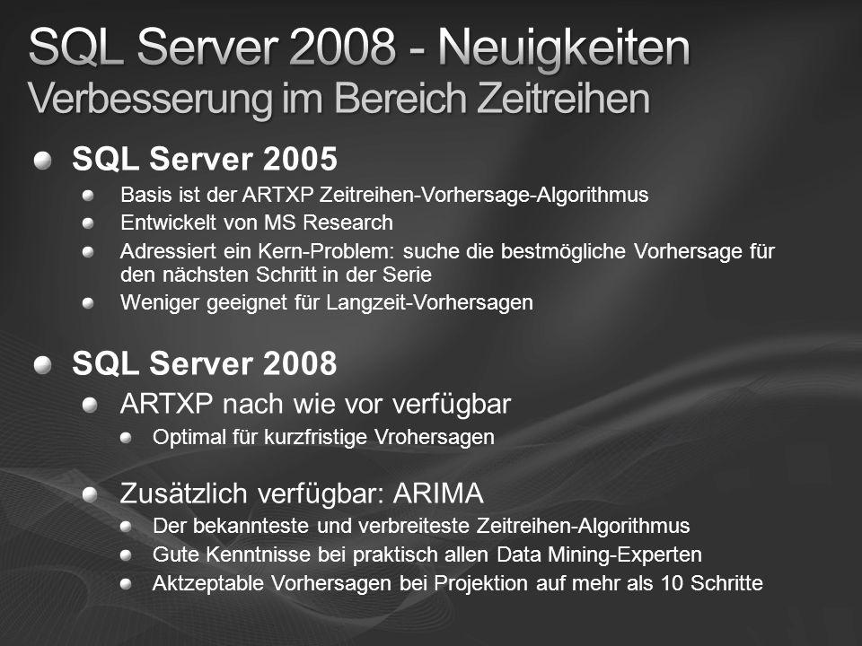 SQL Server 2005 Basis ist der ARTXP Zeitreihen-Vorhersage-Algorithmus Entwickelt von MS Research Adressiert ein Kern-Problem: suche die bestmögliche V