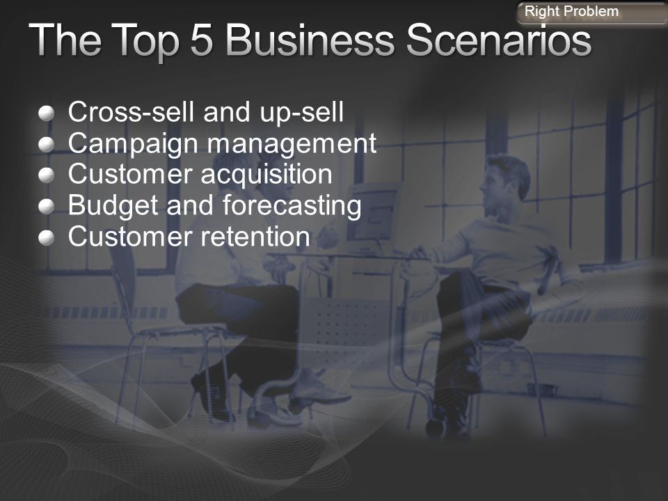 Cross-sell and up-sell Campaign management Customer acquisition Budget and forecasting Customer retention Right Problem