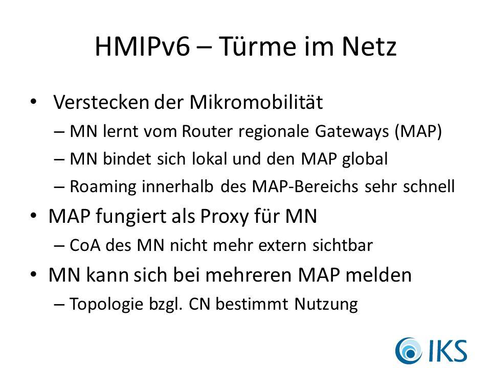 HMIPv6 – Türme im Netz Verstecken der Mikromobilität – MN lernt vom Router regionale Gateways (MAP) – MN bindet sich lokal und den MAP global – Roaming innerhalb des MAP-Bereichs sehr schnell MAP fungiert als Proxy für MN – CoA des MN nicht mehr extern sichtbar MN kann sich bei mehreren MAP melden – Topologie bzgl.
