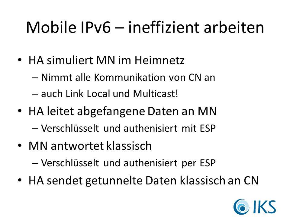 Mobile IPv6 – ineffizient arbeiten HA simuliert MN im Heimnetz – Nimmt alle Kommunikation von CN an – auch Link Local und Multicast.