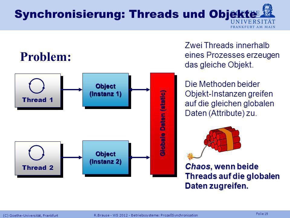 Folie 18 R.Brause - WS 2012 - Betriebssysteme: ProzeßSynchronisation (C) Goethe-Universität, Frankfurt Semaphore: Windows NTProzesse CreateSemaphore()