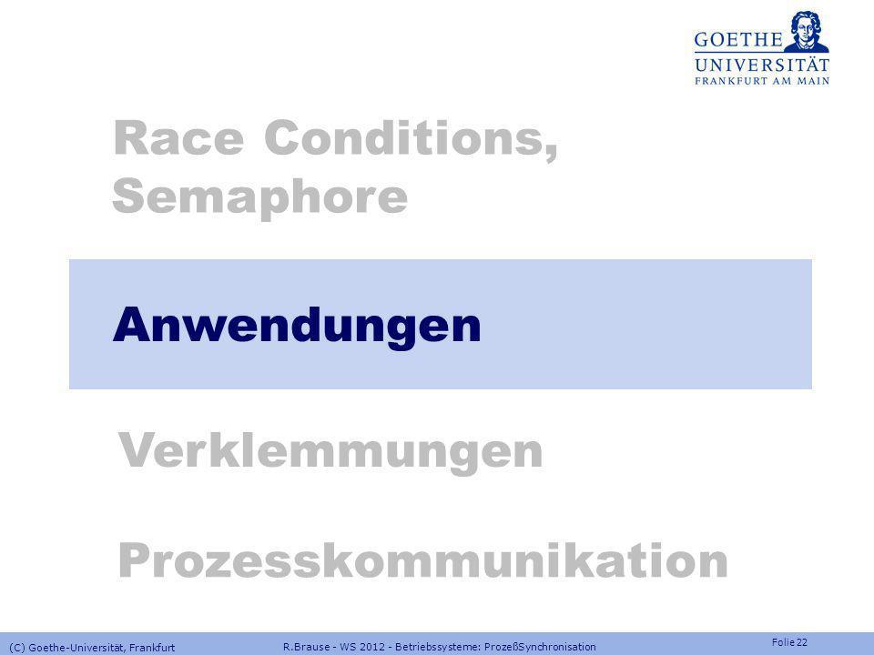 Folie 21 R.Brause - WS 2012 - Betriebssysteme: ProzeßSynchronisation (C) Goethe-Universität, Frankfurt Lösung: Threadgruppen in NT F ü r jedes Objekt