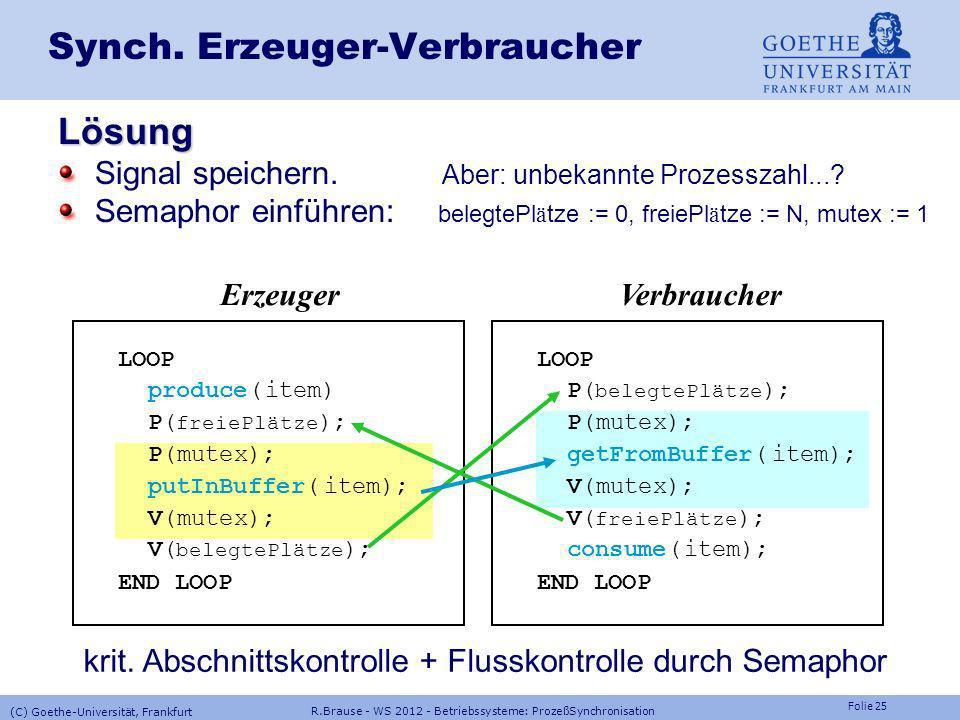 Folie 24 R.Brause - WS 2012 - Betriebssysteme: ProzeßSynchronisation (C) Goethe-Universität, Frankfurt Synch. Erzeuger-Verbraucher Problem: race condi