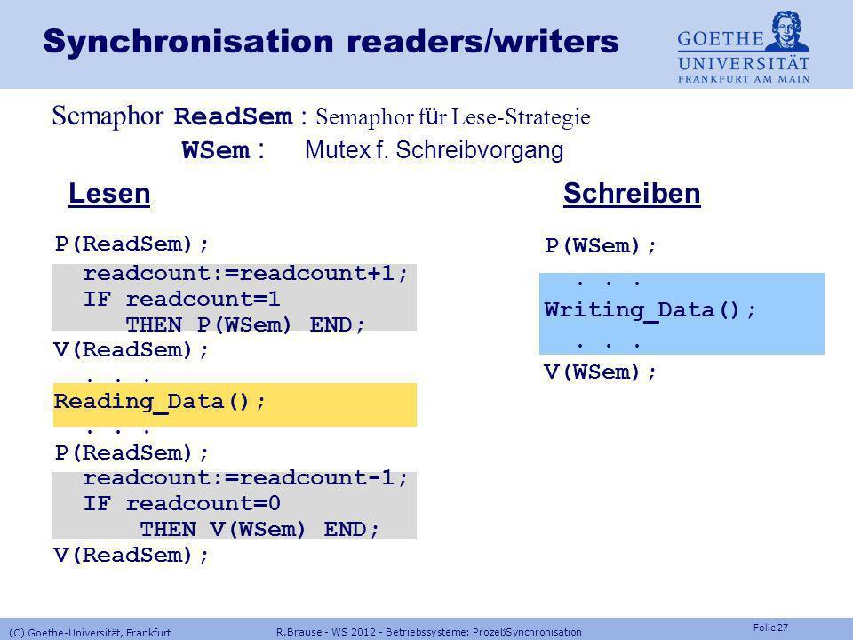 Folie 26 R.Brause - WS 2012 - Betriebssysteme: ProzeßSynchronisation (C) Goethe-Universität, Frankfurt readers/writers - Problem Aufgabe Aufgabe: Koor