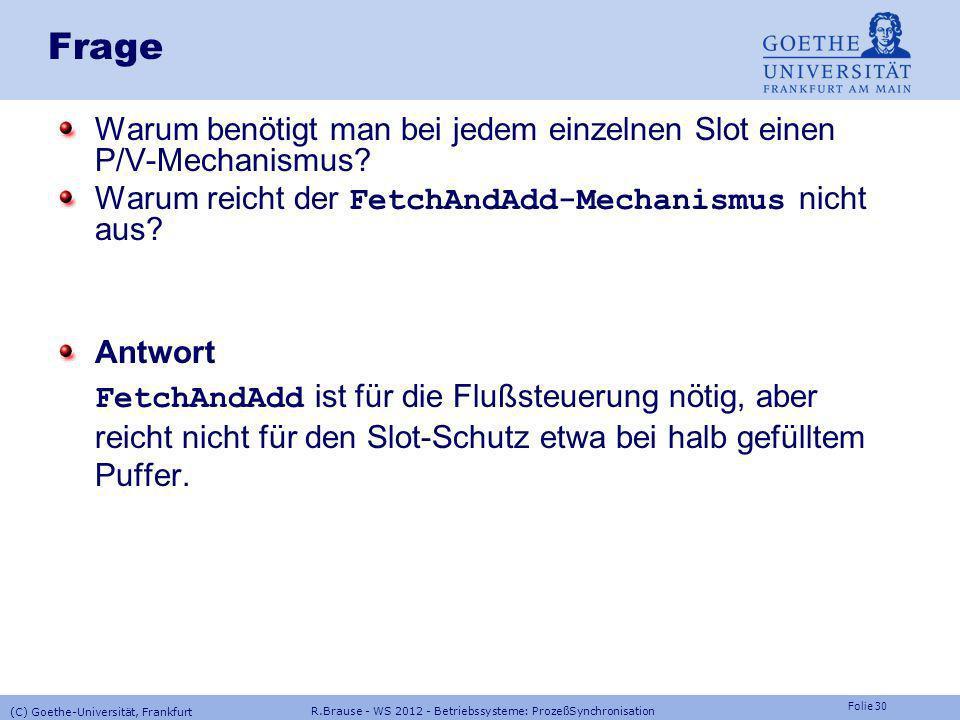 Folie 29 R.Brause - WS 2012 - Betriebssysteme: ProzeßSynchronisation (C) Goethe-Universität, Frankfurt Multiprozessor-Synchronisation Ein/Aushängen be