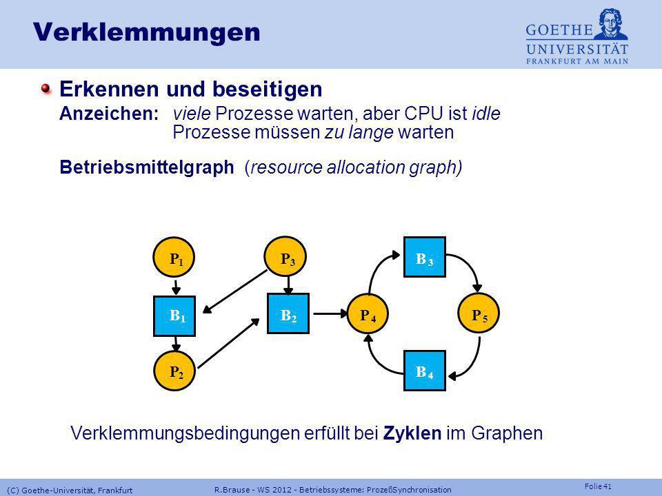 Folie 40 R.Brause - WS 2012 - Betriebssysteme: ProzeßSynchronisation (C) Goethe-Universität, Frankfurt VerklemmungenStrategien: das Problem ignorieren
