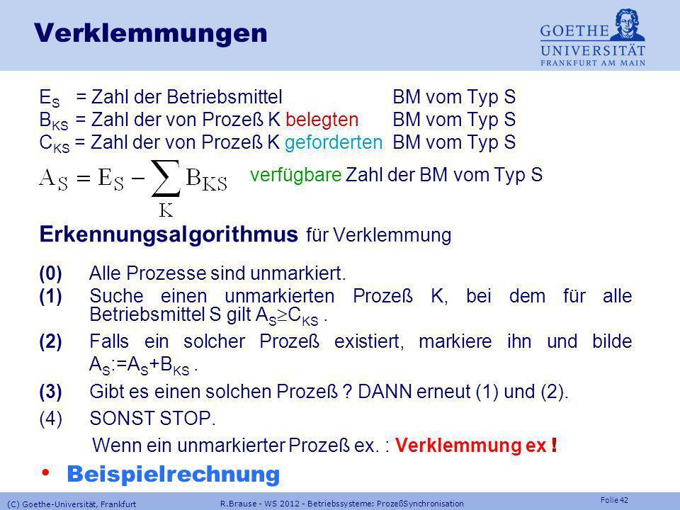 Folie 41 R.Brause - WS 2012 - Betriebssysteme: ProzeßSynchronisation (C) Goethe-Universität, Frankfurt Verklemmungen Erkennen und beseitigen Anzeichen