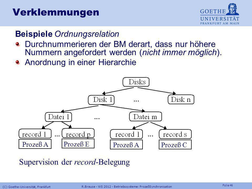 Folie 45 R.Brause - WS 2012 - Betriebssysteme: ProzeßSynchronisation (C) Goethe-Universität, Frankfurt Verklemmungen Unmöglich machen Verhindere eine