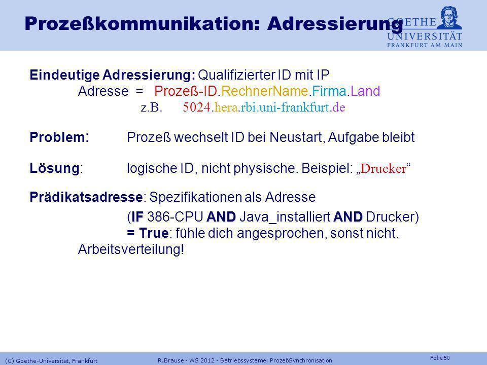 Folie 49 R.Brause - WS 2012 - Betriebssysteme: ProzeßSynchronisation (C) Goethe-Universität, Frankfurt Prozeßkommunikation Verbindungsanzahl unicast m