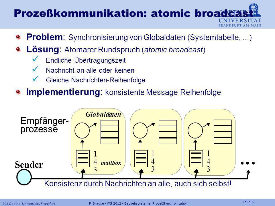 Folie 55 R.Brause - WS 2012 - Betriebssysteme: ProzeßSynchronisation (C) Goethe-Universität, Frankfurt Prozeßkommunikation: Signale Implementierung vo