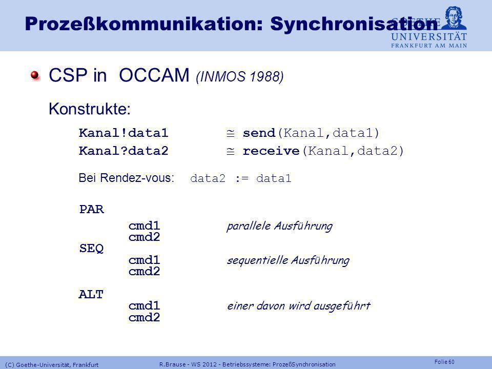Folie 59 R.Brause - WS 2012 - Betriebssysteme: ProzeßSynchronisation (C) Goethe-Universität, Frankfurt Prozeßkommunikation: Synchronisation Kommunizie