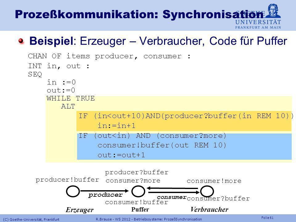 Folie 60 R.Brause - WS 2012 - Betriebssysteme: ProzeßSynchronisation (C) Goethe-Universität, Frankfurt Prozeßkommunikation: Synchronisation CSP in OCC