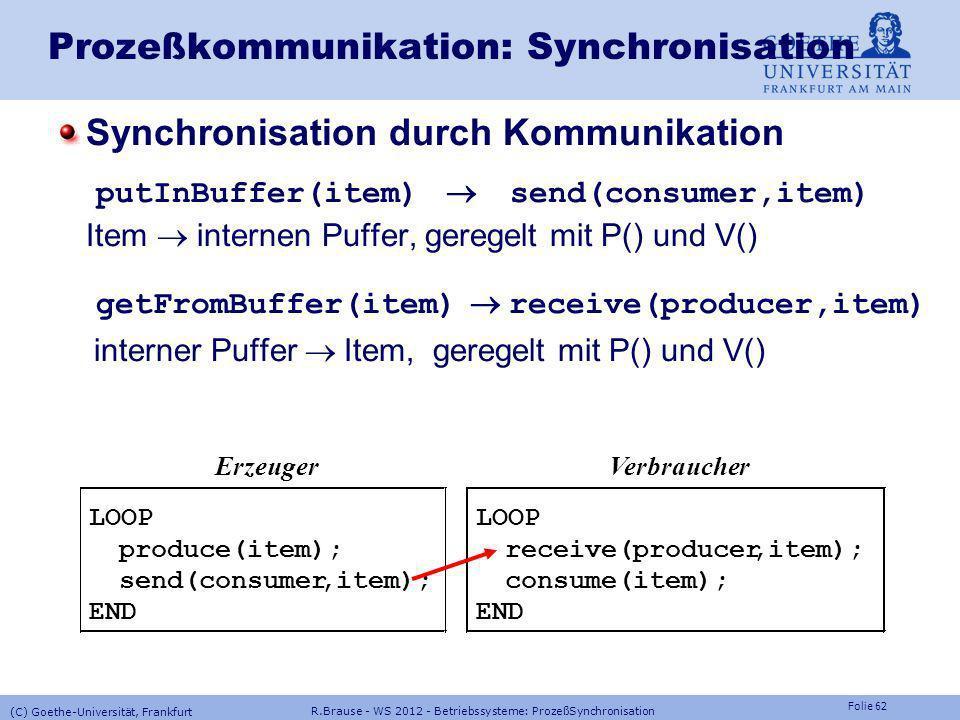 Folie 61 R.Brause - WS 2012 - Betriebssysteme: ProzeßSynchronisation (C) Goethe-Universität, Frankfurt Prozeßkommunikation: Synchronisation Beispiel: