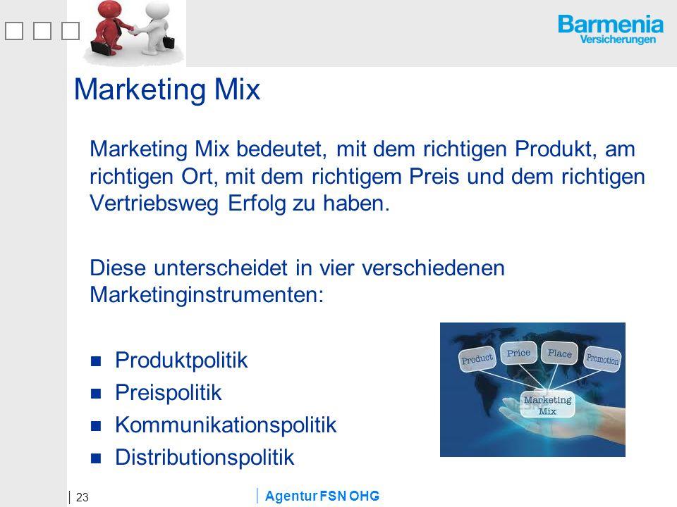 Agentur FSN OHG Marketing Mix Marketing Mix bedeutet, mit dem richtigen Produkt, am richtigen Ort, mit dem richtigem Preis und dem richtigen Vertriebs