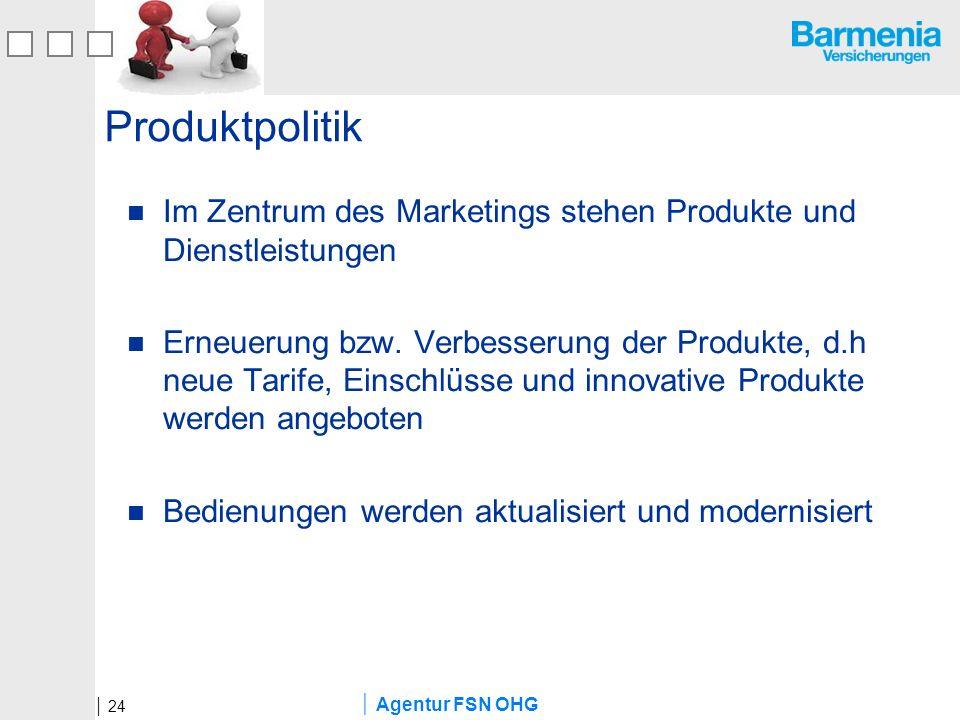 Agentur FSN OHG Produktpolitik Im Zentrum des Marketings stehen Produkte und Dienstleistungen Erneuerung bzw. Verbesserung der Produkte, d.h neue Tari