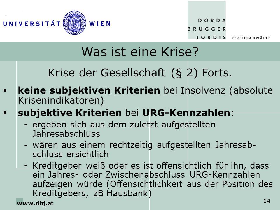 www.dbj.at 14 Was ist eine Krise? Krise der Gesellschaft (§ 2) Forts. keine subjektiven Kriterien bei Insolvenz (absolute Krisenindikatoren) subjektiv