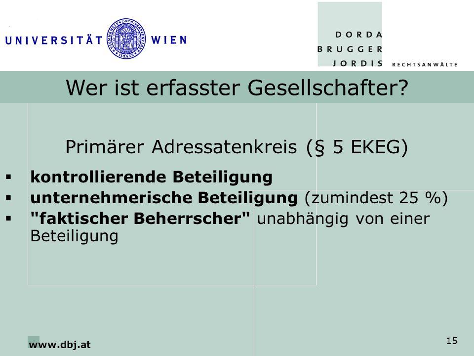 www.dbj.at 15 Wer ist erfasster Gesellschafter? Primärer Adressatenkreis (§ 5 EKEG) kontrollierende Beteiligung unternehmerische Beteiligung (zumindes