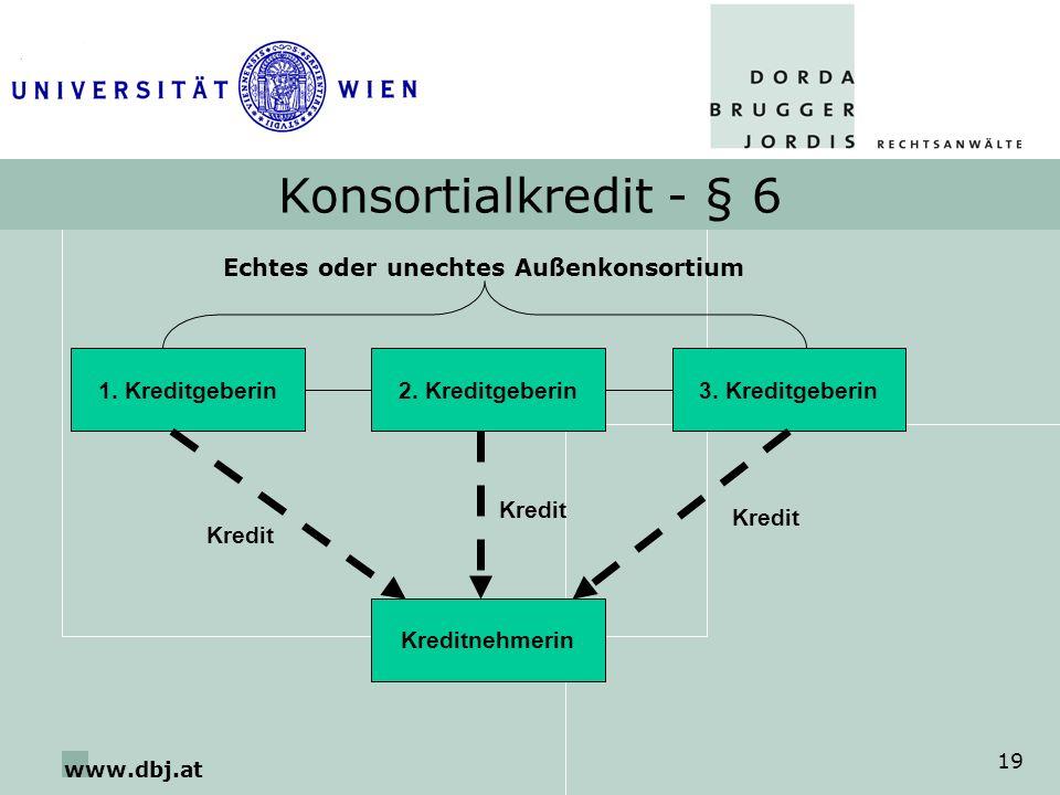 www.dbj.at 19 Konsortialkredit - § 6 2. Kreditgeberin1. Kreditgeberin Kreditnehmerin 3. Kreditgeberin Echtes oder unechtes Außenkonsortium Kredit