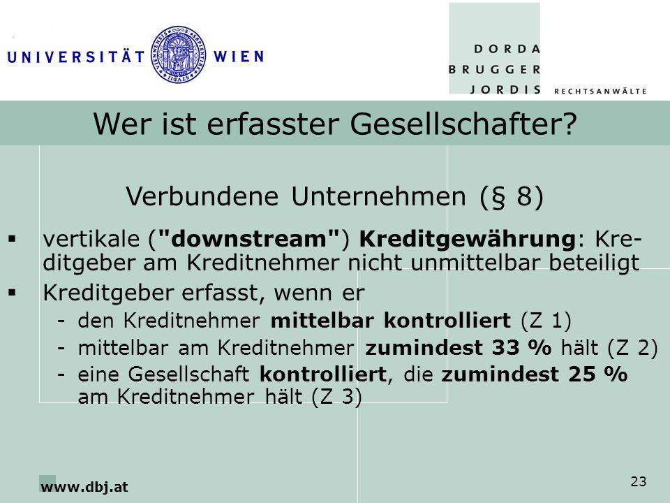 www.dbj.at 23 Wer ist erfasster Gesellschafter? Verbundene Unternehmen (§ 8) vertikale (