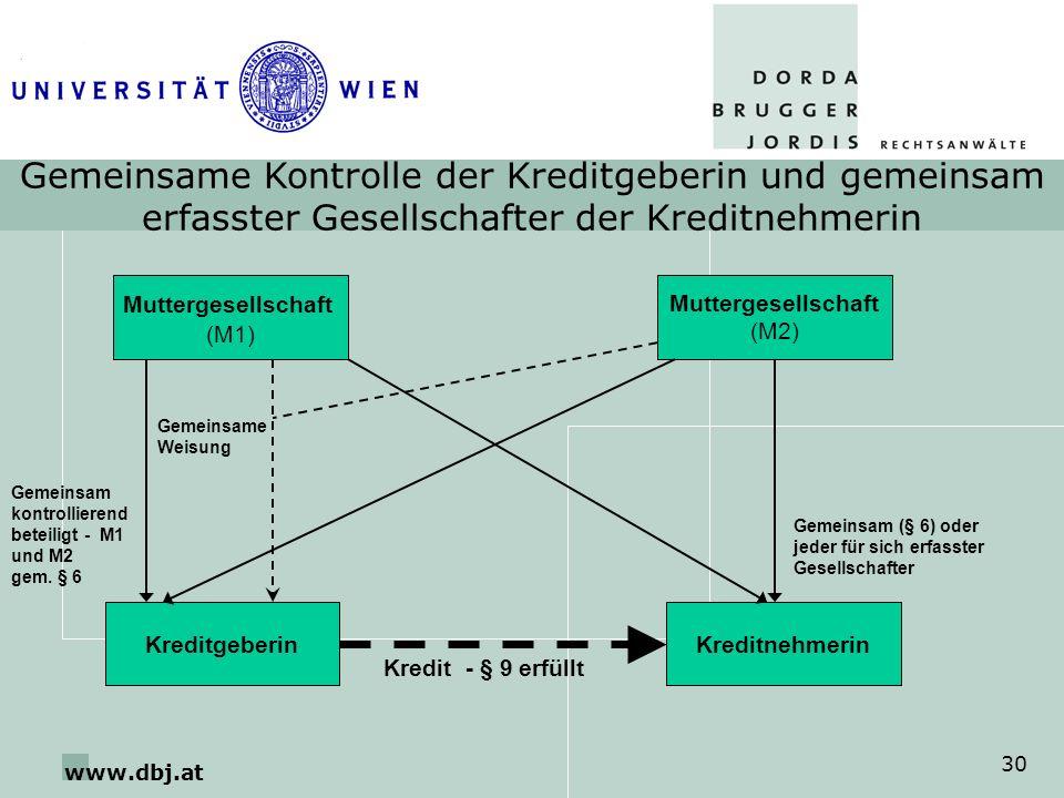 www.dbj.at 30 Gemeinsame Kontrolle der Kreditgeberin und gemeinsam erfasster Gesellschafter der Kreditnehmerin Muttergesellschaft (M2) KreditgeberinKr