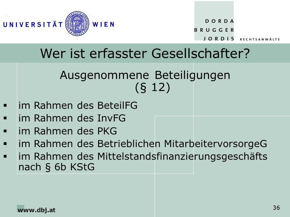 www.dbj.at 36 Wer ist erfasster Gesellschafter? Ausgenommene Beteiligungen (§ 12) im Rahmen des BeteilFG im Rahmen des InvFG im Rahmen des PKG im Rahm