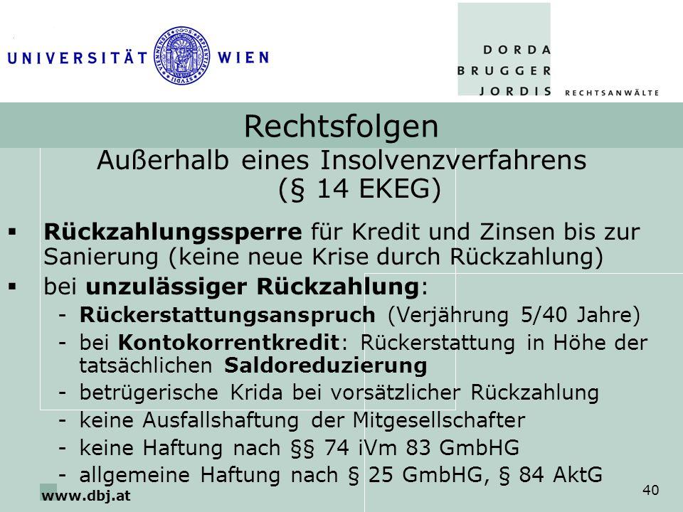 www.dbj.at 40 Rechtsfolgen Außerhalb eines Insolvenzverfahrens (§ 14 EKEG) Rückzahlungssperre für Kredit und Zinsen bis zur Sanierung (keine neue Kris