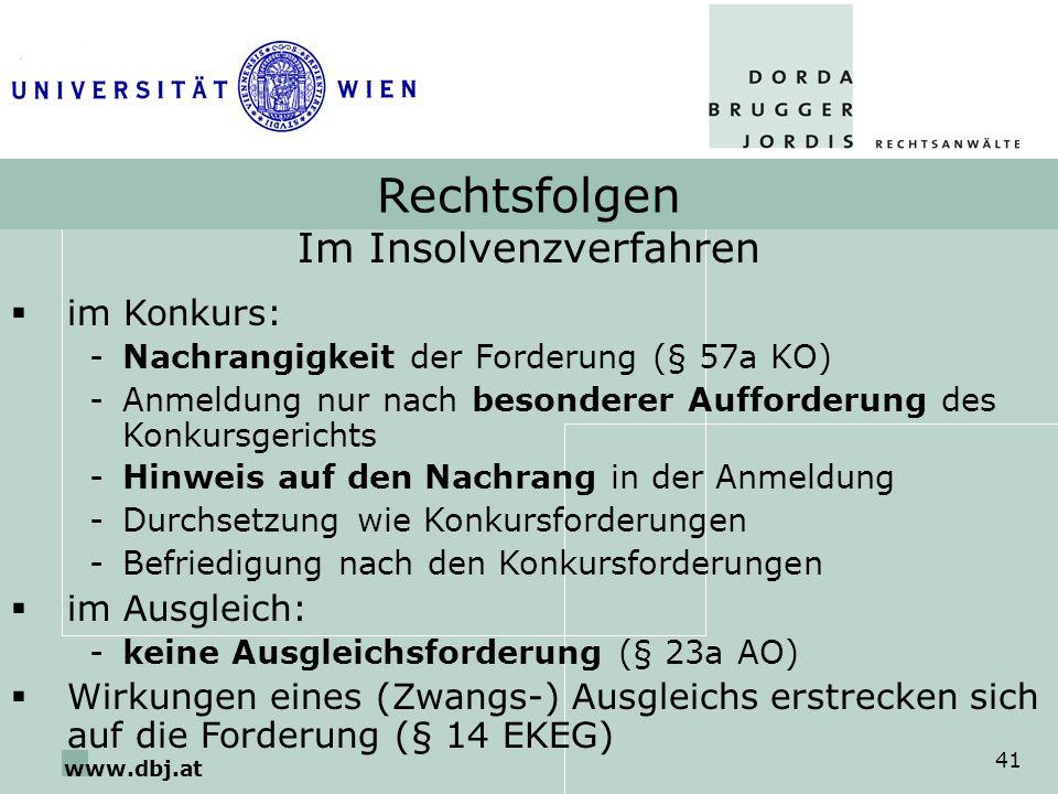 www.dbj.at 41 Rechtsfolgen Im Insolvenzverfahren im Konkurs: -Nachrangigkeit der Forderung (§ 57a KO) -Anmeldung nur nach besonderer Aufforderung des