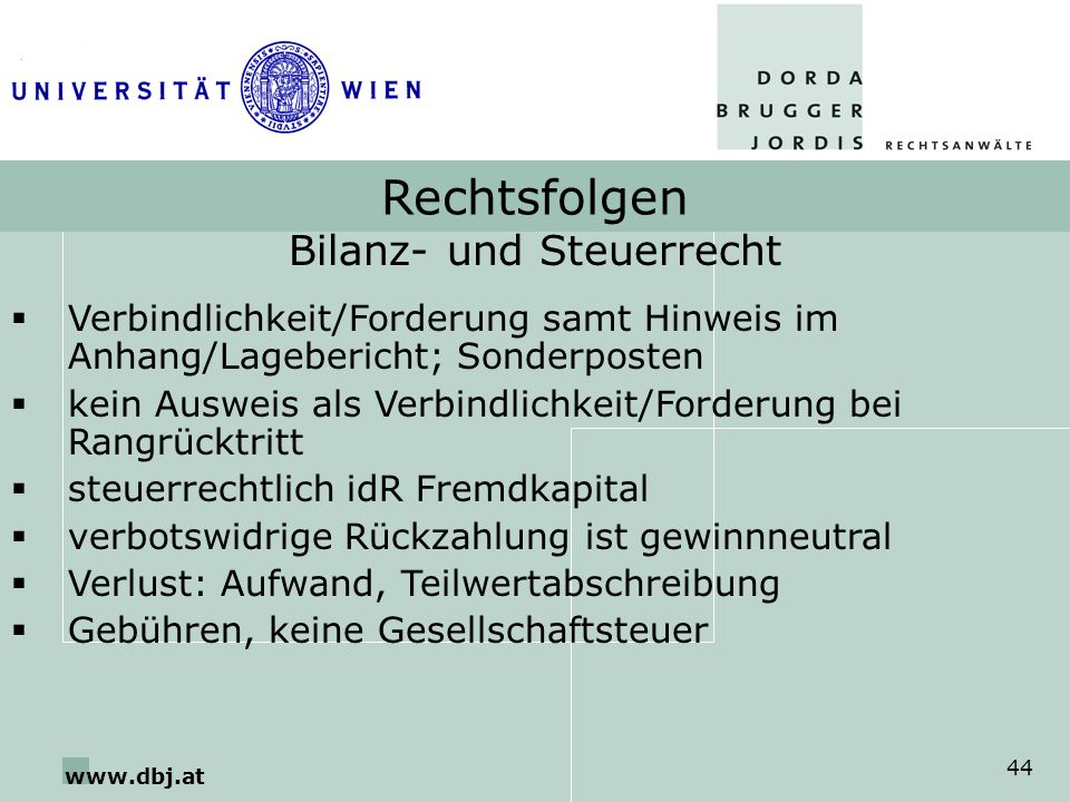 www.dbj.at 44 Rechtsfolgen Bilanz- und Steuerrecht Verbindlichkeit/Forderung samt Hinweis im Anhang/Lagebericht; Sonderposten kein Ausweis als Verbind