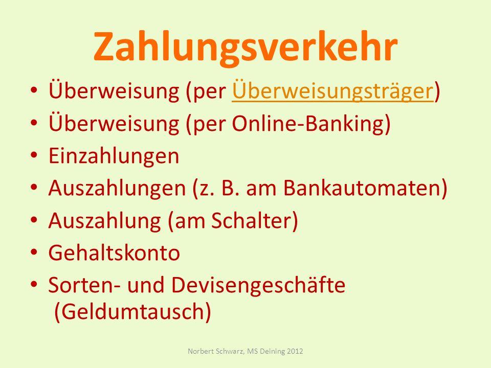 Zahlungsverkehr Überweisung (per Überweisungsträger)Überweisungsträger Überweisung (per Online-Banking) Einzahlungen Auszahlungen (z.