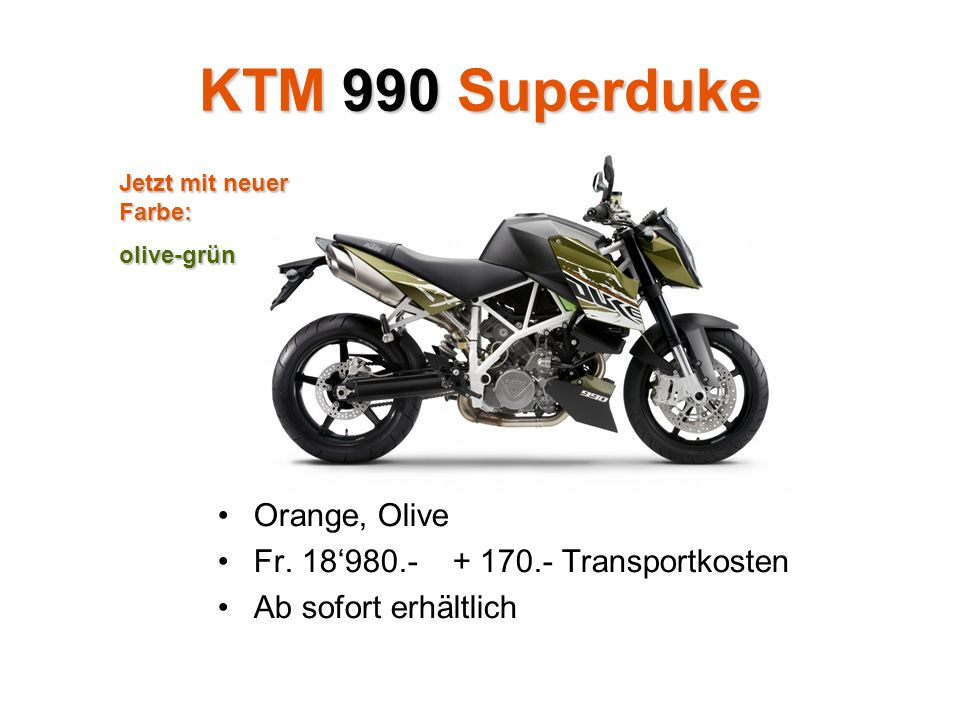 KTM 990 Superduke Orange, Olive Fr.