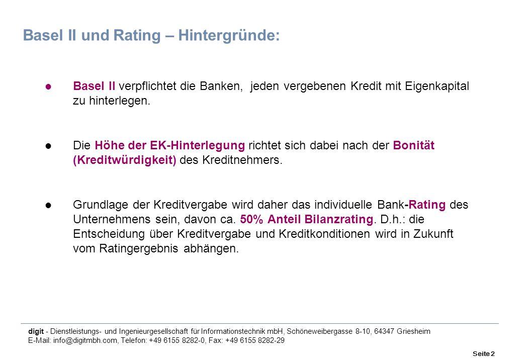 digit - Dienstleistungs- und Ingenieurgesellschaft für Informationstechnik mbH, Schöneweibergasse 8-10, 64347 Griesheim E-Mail: info@digitmbh.com, Telefon: +49 6155 8282-0, Fax: +49 6155 8282-29 Seite 2 Basel II und Rating – Hintergründe: Basel II verpflichtet die Banken, jeden vergebenen Kredit mit Eigenkapital zu hinterlegen.