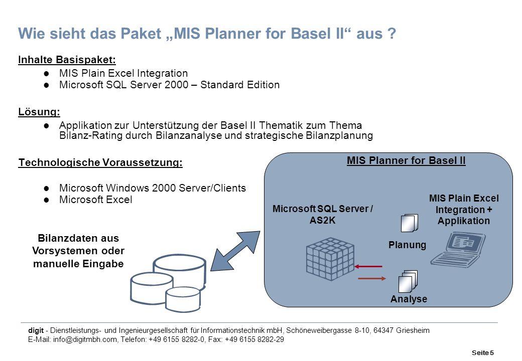 digit - Dienstleistungs- und Ingenieurgesellschaft für Informationstechnik mbH, Schöneweibergasse 8-10, 64347 Griesheim E-Mail: info@digitmbh.com, Telefon: +49 6155 8282-0, Fax: +49 6155 8282-29 Seite 5 Wie sieht das Paket MIS Planner for Basel II aus .