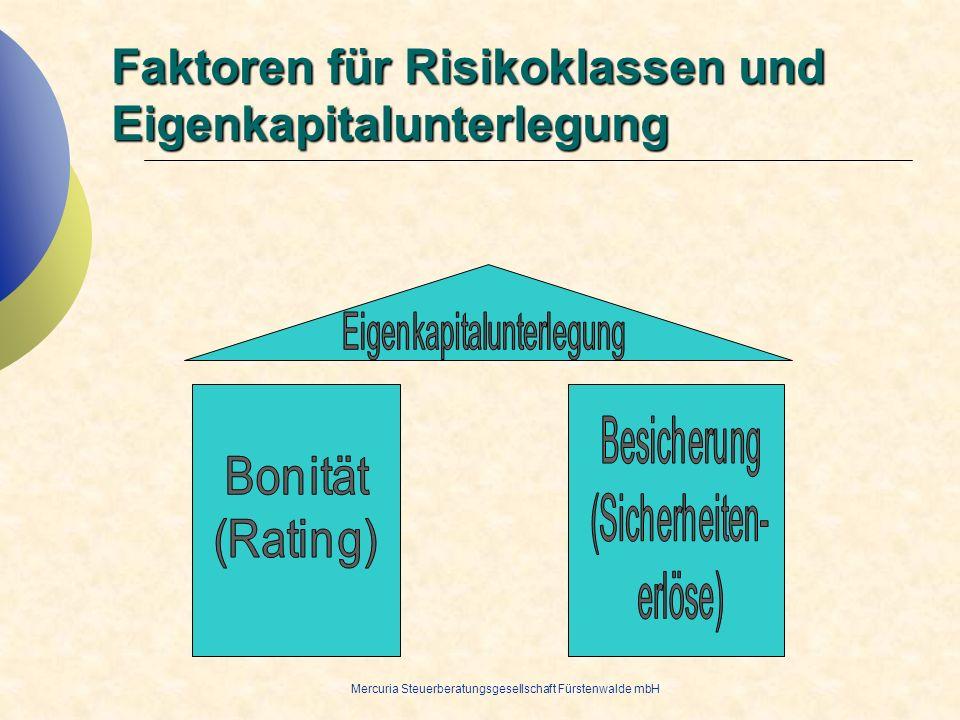Mercuria Steuerberatungsgesellschaft Fürstenwalde mbH Faktoren für Risikoklassen und Eigenkapitalunterlegung
