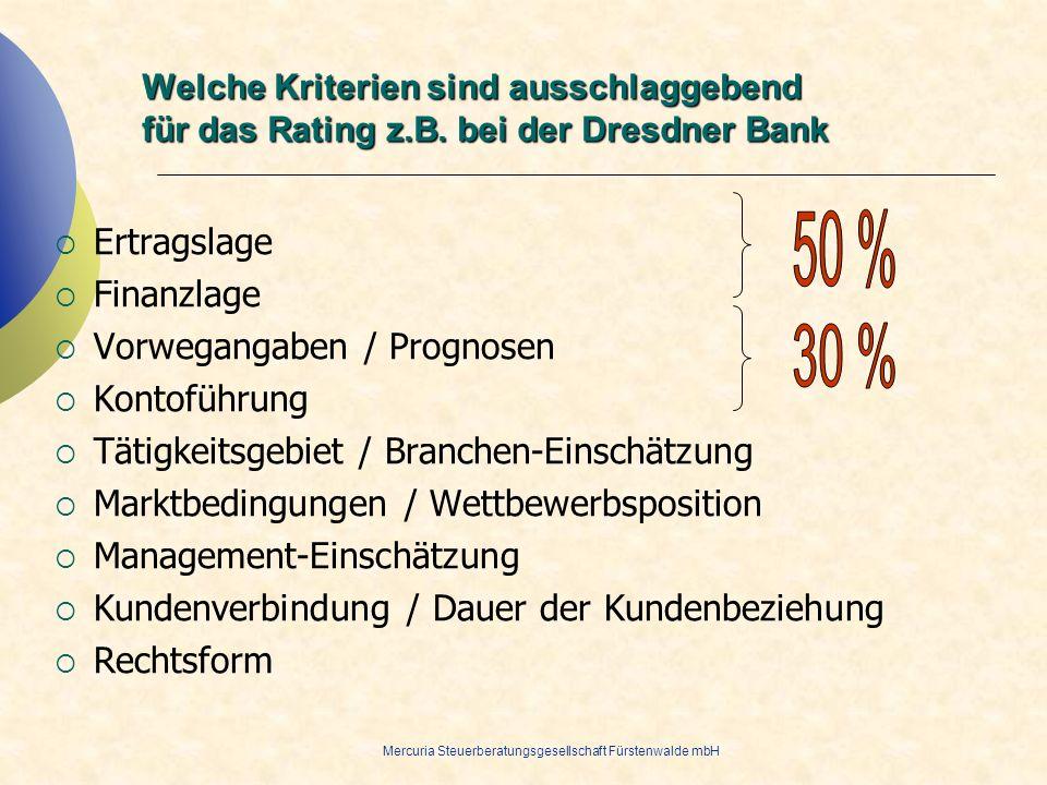 Mercuria Steuerberatungsgesellschaft Fürstenwalde mbH Welche Kriterien sind ausschlaggebend für das Rating z.B. bei der Dresdner Bank Ertragslage Fina