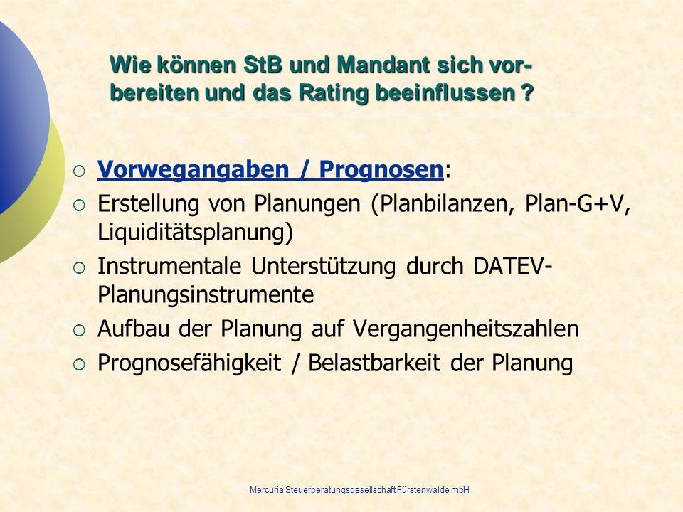 Mercuria Steuerberatungsgesellschaft Fürstenwalde mbH Vorwegangaben / Prognosen: Erstellung von Planungen (Planbilanzen, Plan-G+V, Liquiditätsplanung)